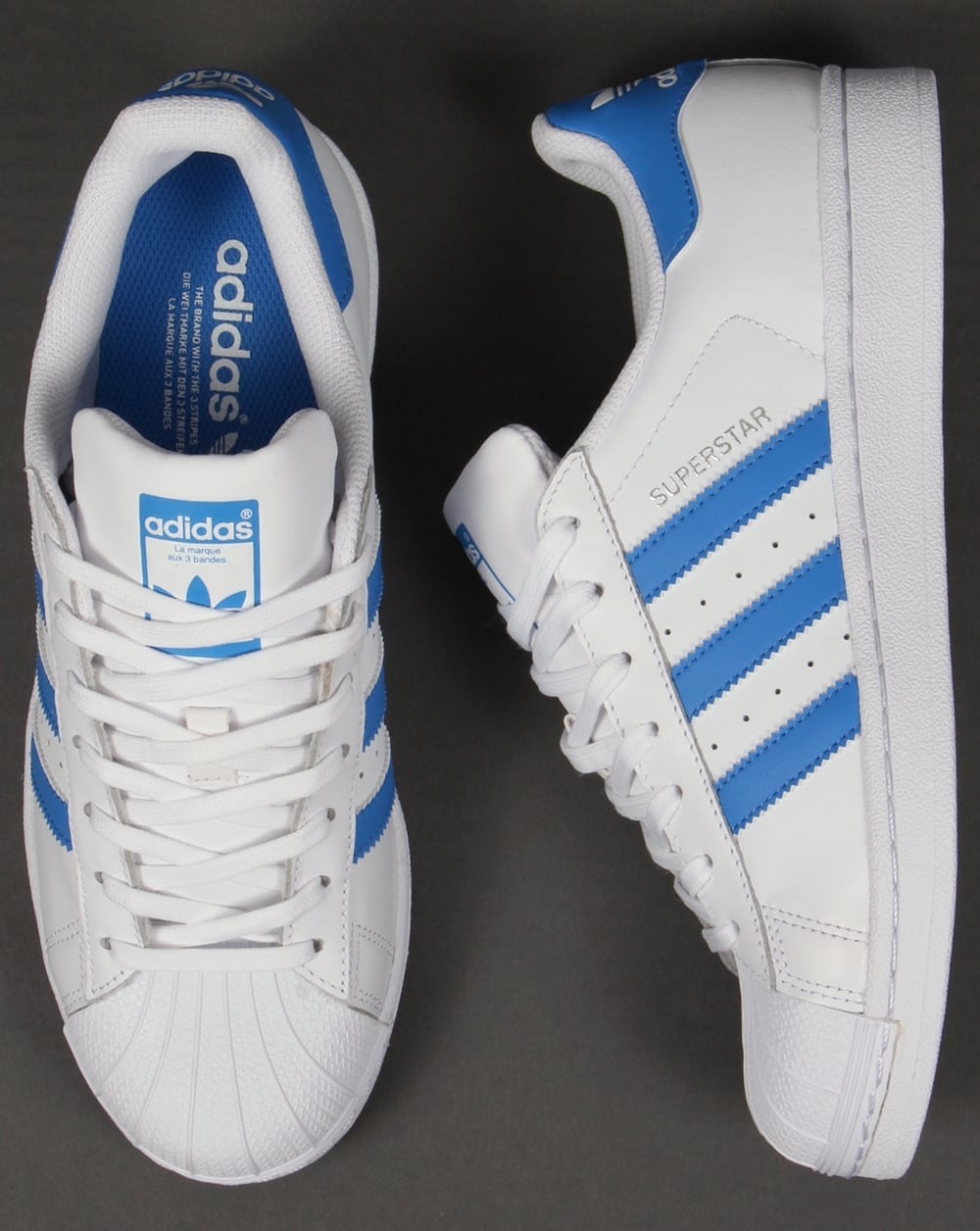 Adidas Superstar Trainers White/Ray Blue