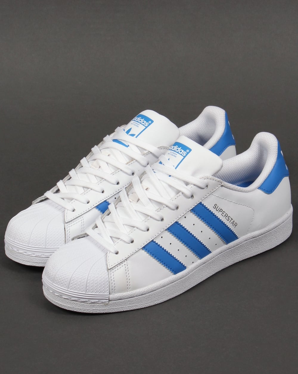 Adidas Superstar Trainers White Ray Blue Originals Shell