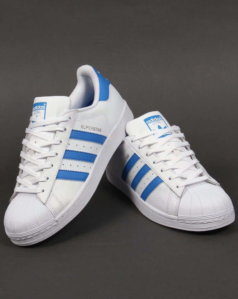 Adidas Trainers Adidas Superstar Trainers White/royal Blue ...