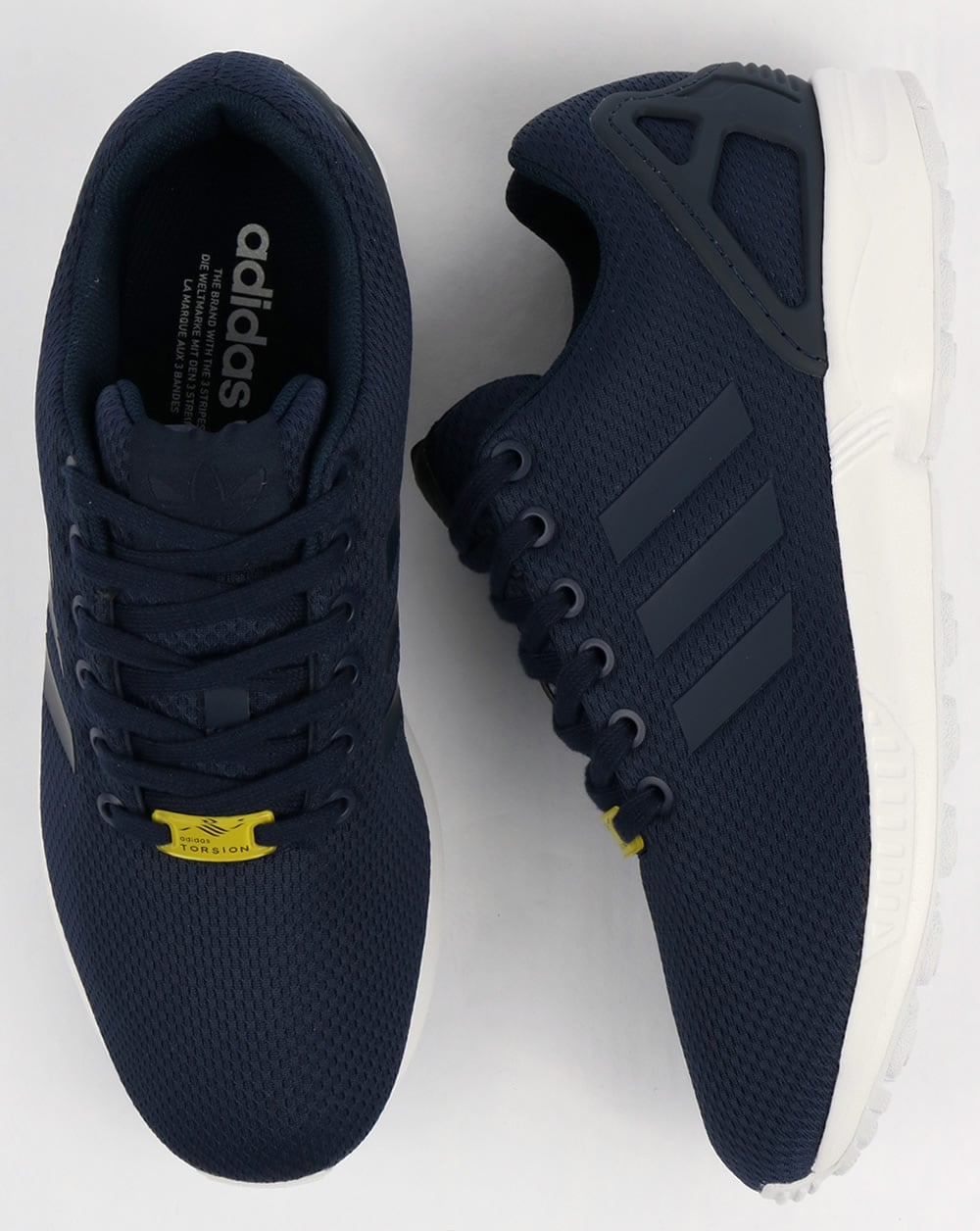 reputable site cd78c a78a8 Adidas ZX Flux Trainers New Navy White