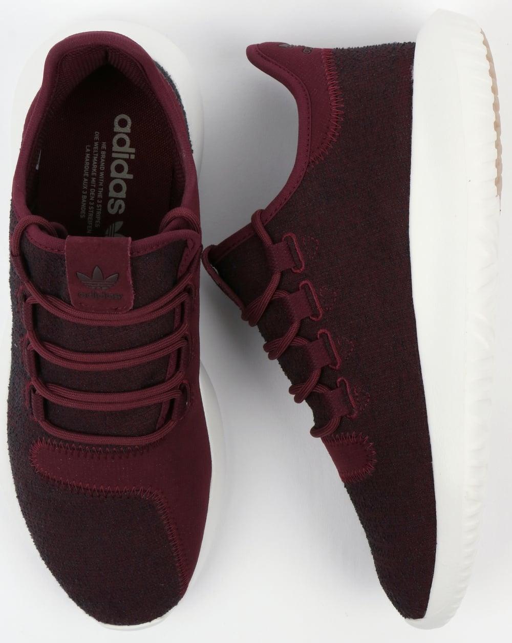 white adidas shoes tubular maroon
