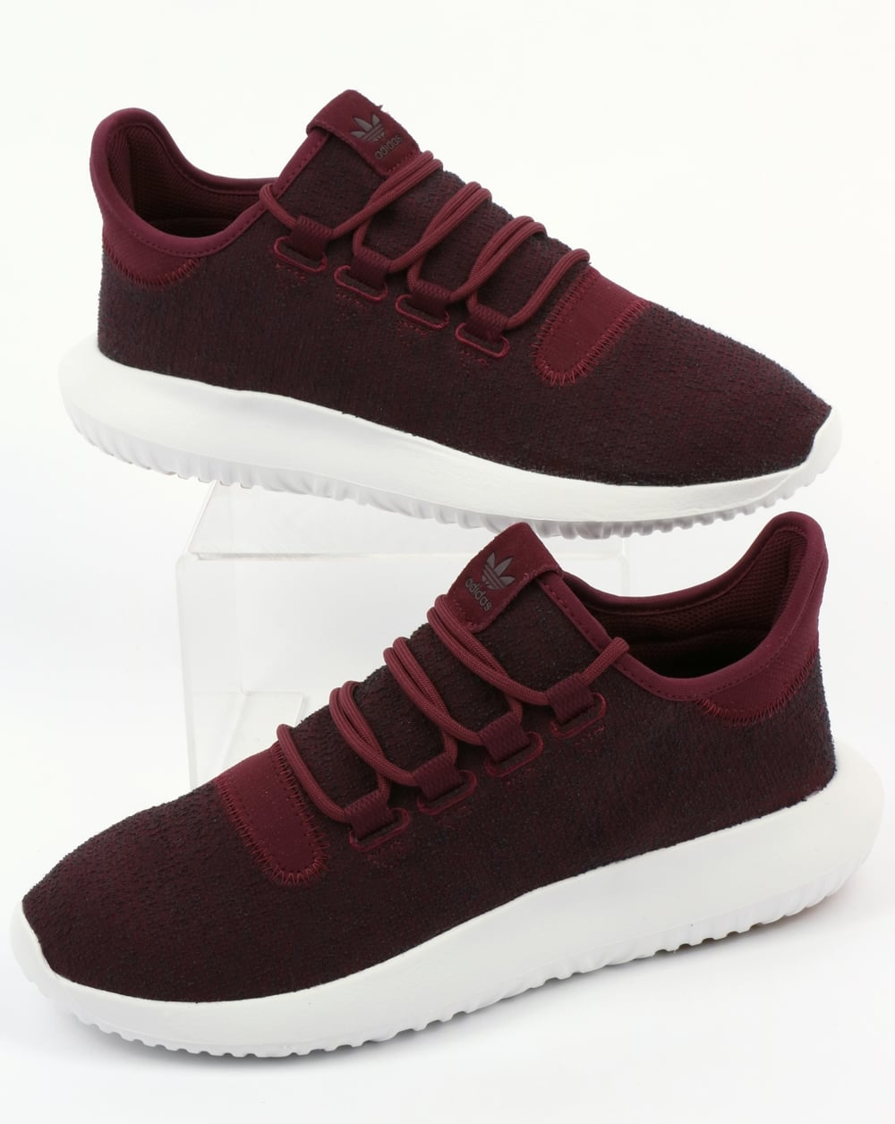 buy popular 1f066 1d4ea Adidas Tubular Shadow Trainers Maroon/Vapour Grey