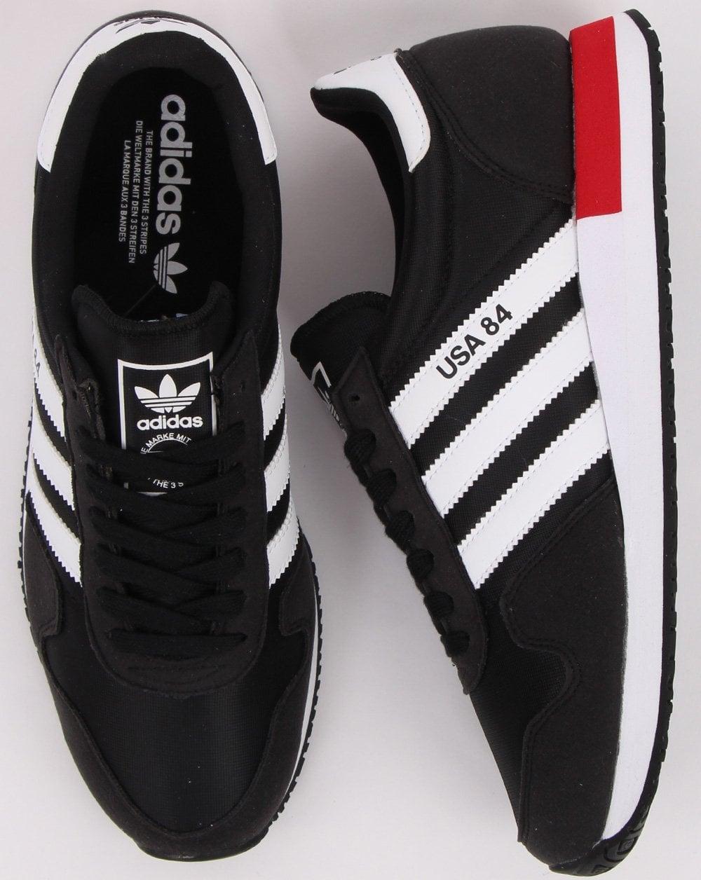 Adidas Usa 84 Trainers Black/White/Scarlet
