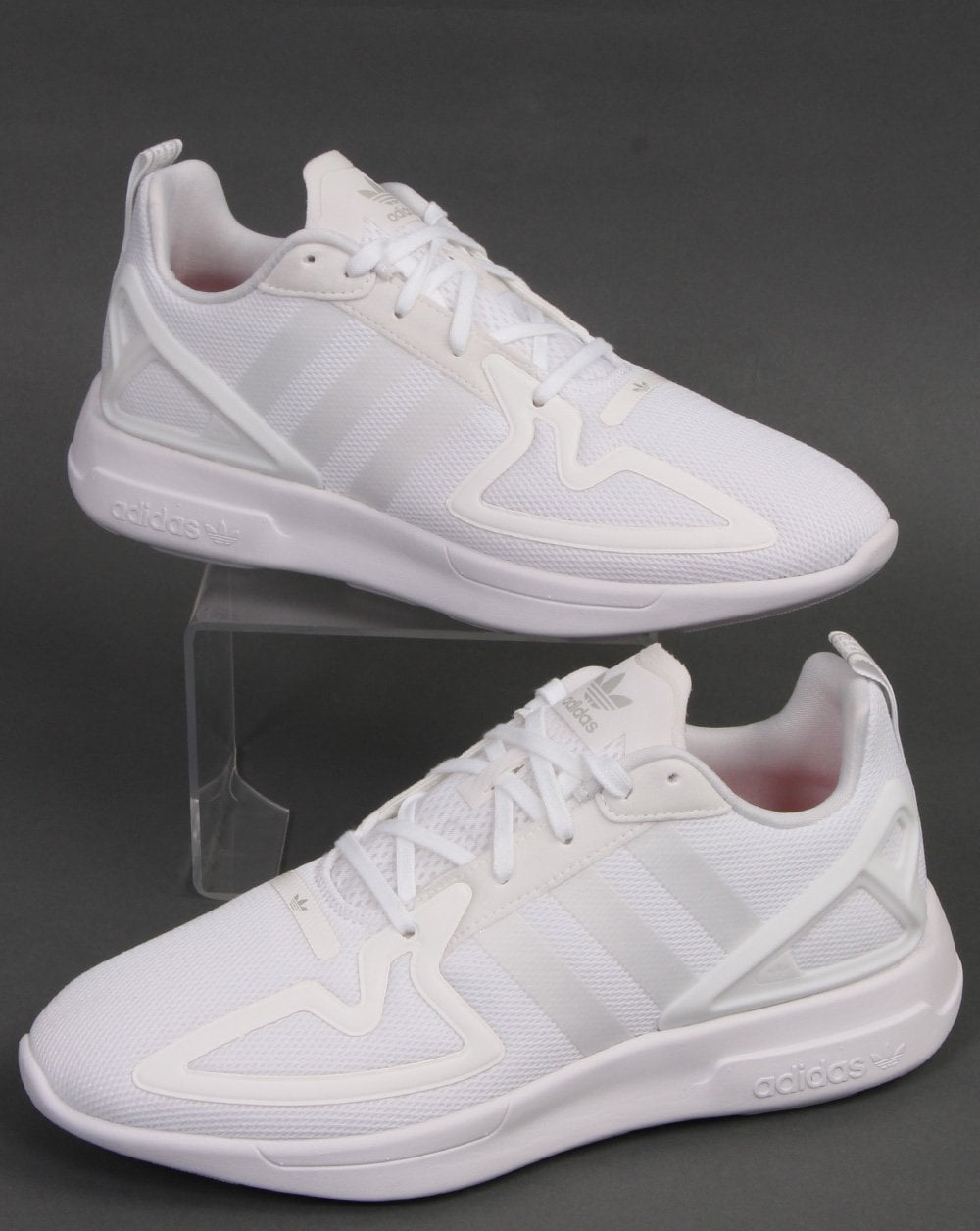 white adidas flux trainers