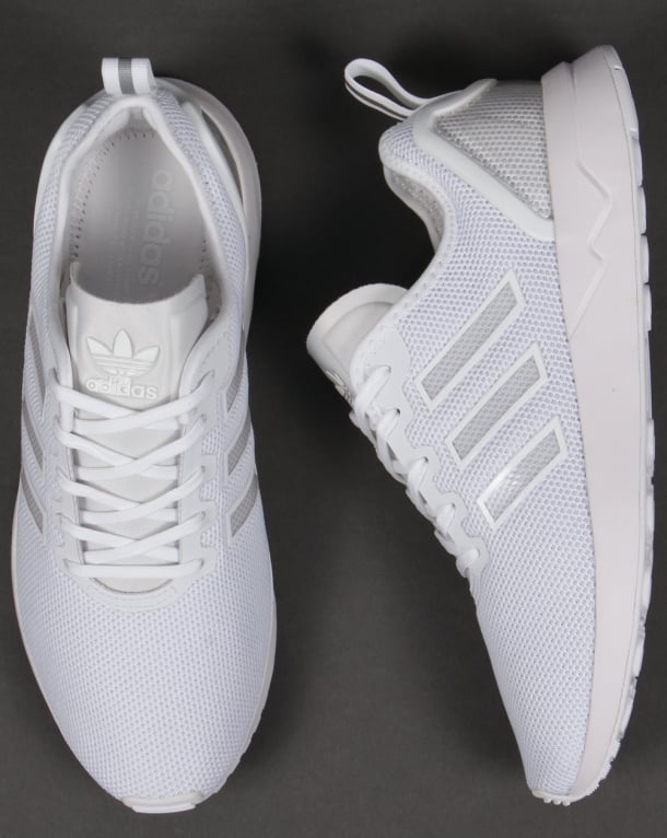 6a410829741bd Adidas ZX Flux ADV Trainers White White