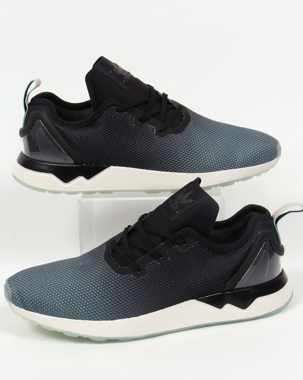 buy popular ddd45 65652 Adidas ZX Flux Racer Asym Trainers Black/Black/Blue Glow