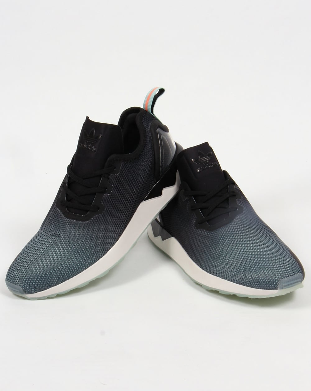 buy popular 93d8c 032e7 Adidas ZX Flux Racer Asym Trainers Black/Black/Blue Glow