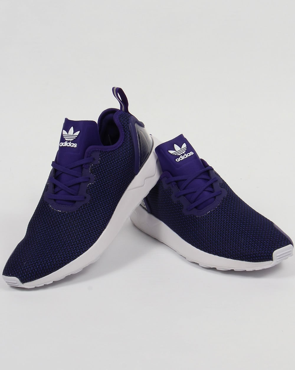 hot sale online aa31c b5b2b Adidas ZX Flux Racer Asym Trainers Purple/Black/White