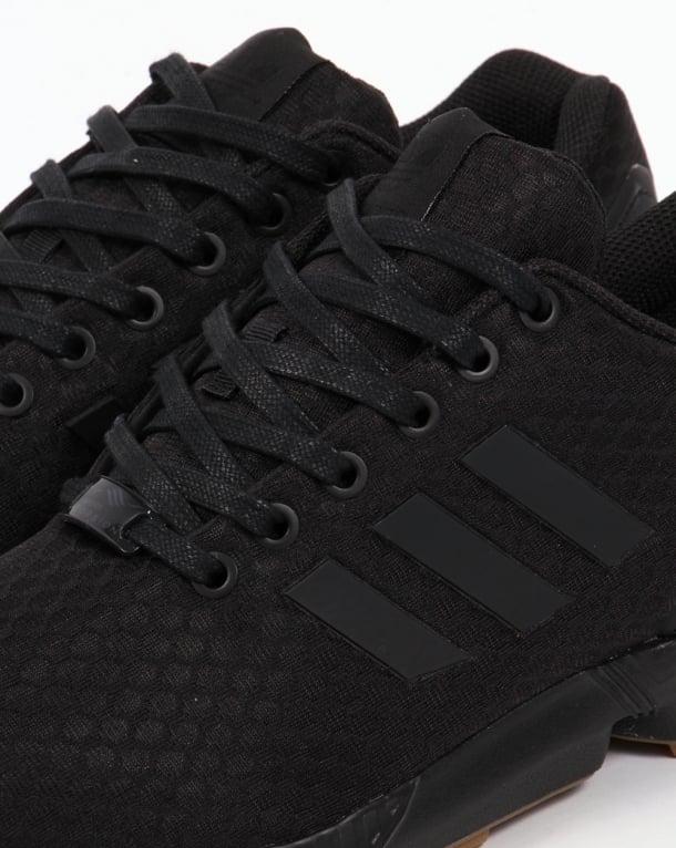 558ad1f1bb5f4 Adidas ZX Flux Trainers Black Black Gum