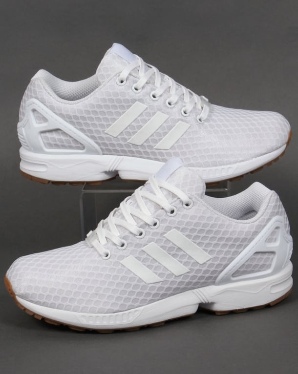 timeless design 625e6 22af5 Adidas ZX Flux Trainers White/White/Gum