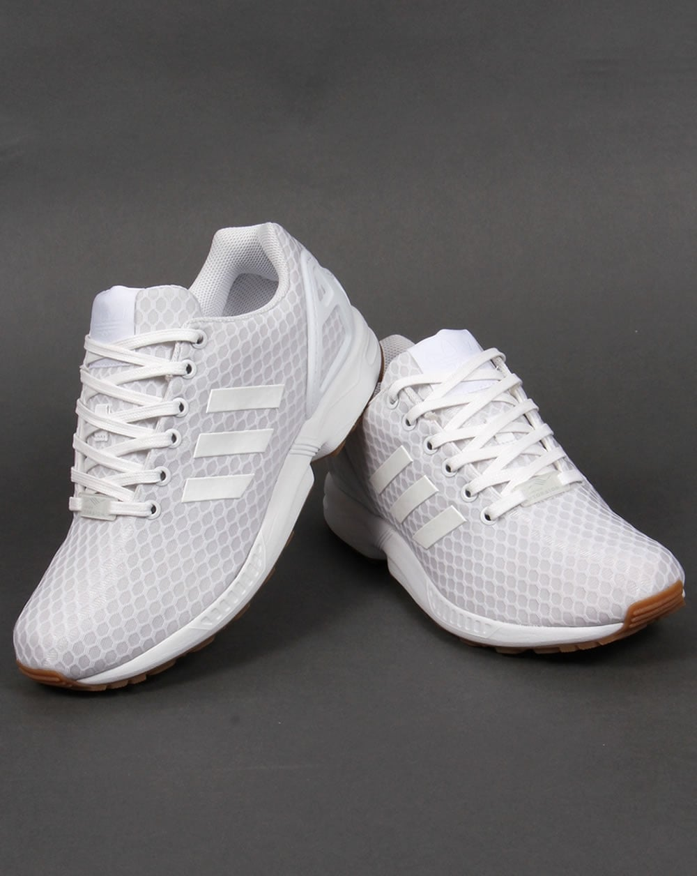 timeless design 4183a 7179f Adidas ZX Flux Trainers White/White/Gum