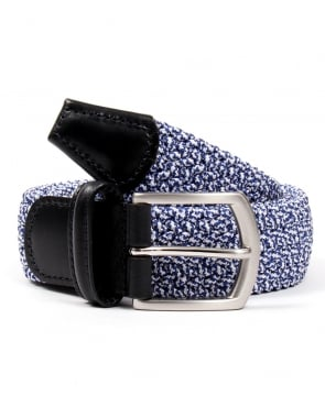 Andersons Belts Andersons Woven Leather Trim Belt Blue