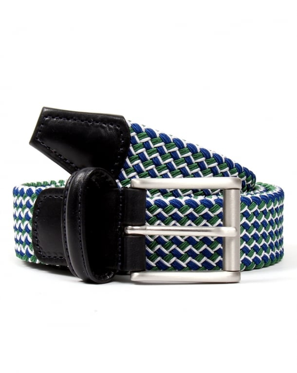 Andersons Woven Leather Trim Belt Green/blue