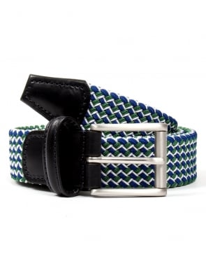 Andersons Belts Andersons Woven Leather Trim Belt Green/blue