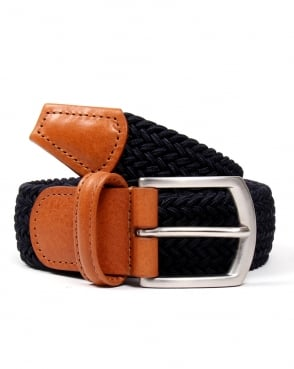Andersons Belts Andersons Woven Leather Trim Belt Navy/tan