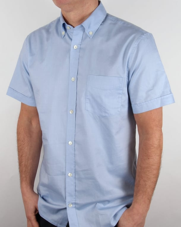 Aquascutum Ashford Oxford Short Sleeve Shirt Sky Blue