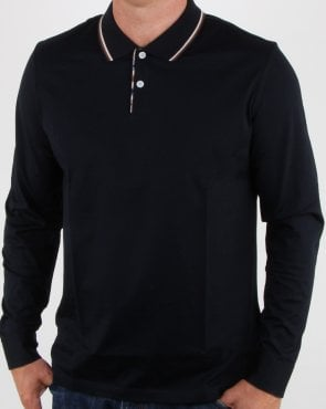Aquascutum Bert Long Sleeve Polo Navy