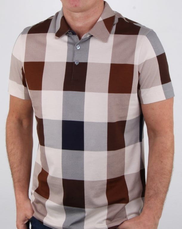 Aquascutum Cody Club Check Polo Shirt Vicuna
