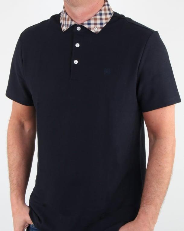 Aquascutum Coniston Check Collar Polo Shirt Navy