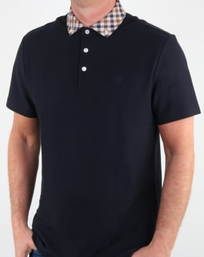 Aquascutum Coniston Check Collar Polo Shirt Navy