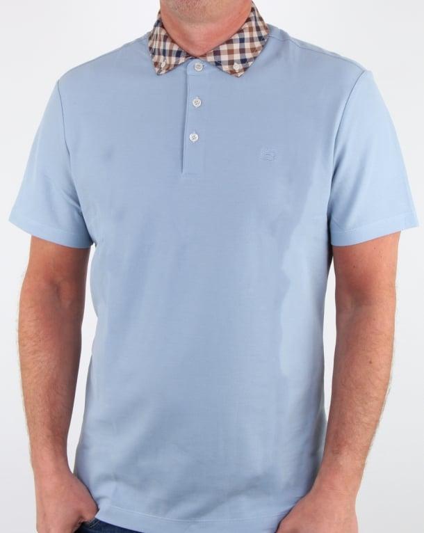 Aquascutum Coniston Check Collar Polo Shirt Sky Blue