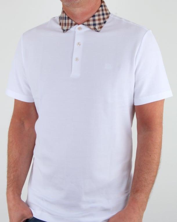 Aquascutum Coniston Check Collar Polo Shirt White