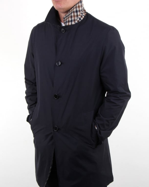 Aquascutum Cove Reversible Raincoat Navy