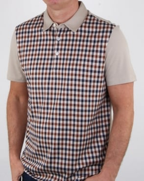 Aquascutum Dillon Club Check Polo Shirt classic vicuna