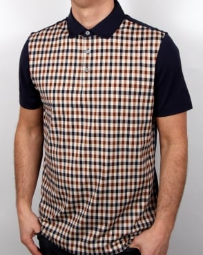 Aquascutum Dillon Club Check Polo Shirt Navy/Vicuna