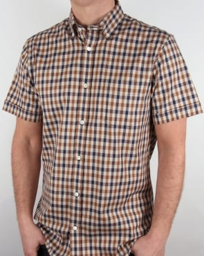 Aquascutum Emsworth Club Check S/S Shirt Vicuna