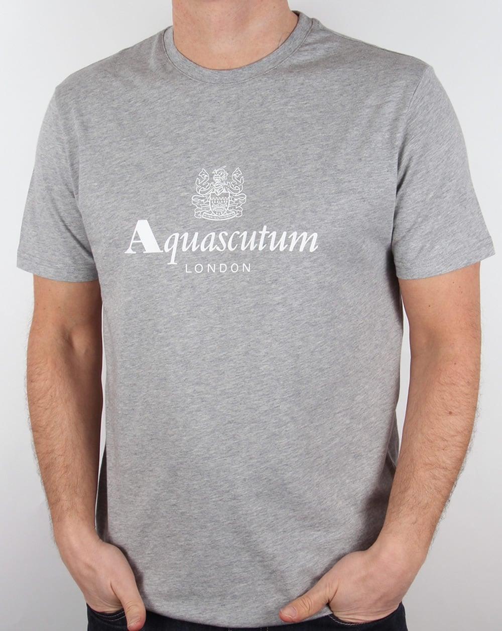 Aquascutum griffin t shirt grey marl tee graphic crew neck for Grey marl t shirt