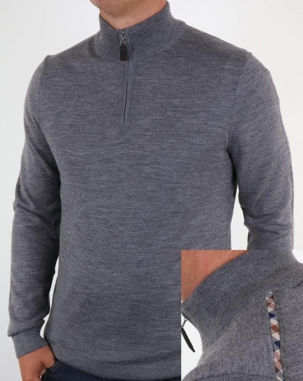 Aquascutum Hamilton Half Zip Knit Grey