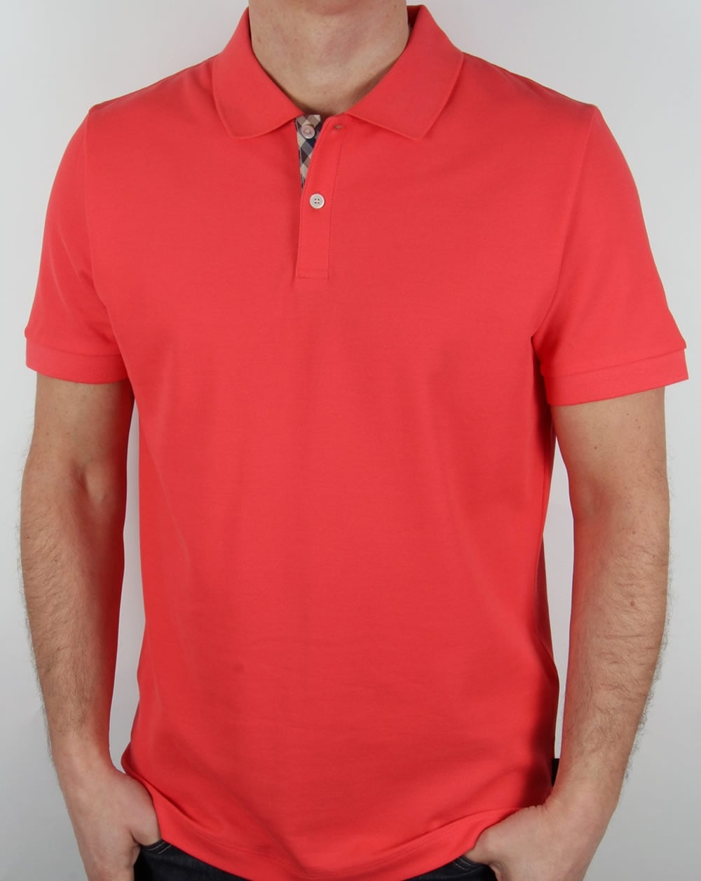 aquascutum hector polo shirt coral pique cotton short