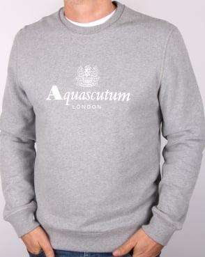 Aquascutum Henry Crew Neck Sweatshirt Grey Marl
