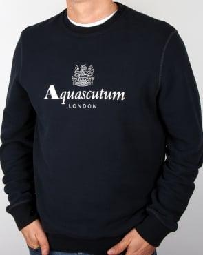 Aquascutum Henry Crew Neck Sweatshirt Navy