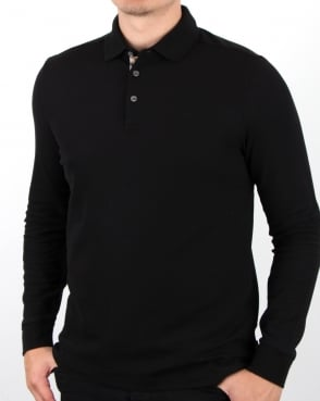 Aquascutum Hillington Long Sleeve Polo Shirt Black