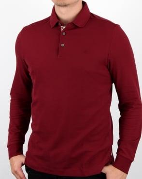 Aquascutum Hillington Long Sleeve Polo Shirt Bordeaux