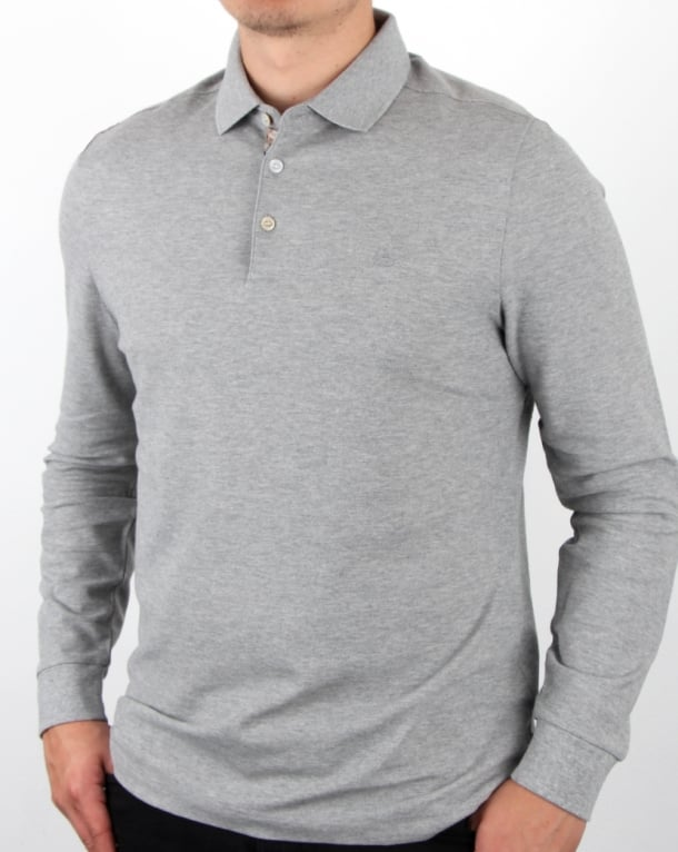 Aquascutum Hillington Long Sleeve Polo Shirt Grey