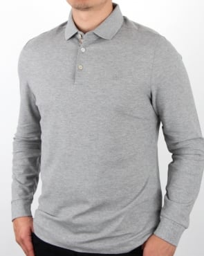 Aquascutum Hillington Ls Polo Shirt Grey Melange
