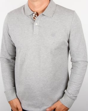 Aquascutum Hilton Long Sleeve Polo Shirt Grey