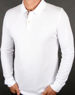 Aquascutum Hilton Long Sleeve Polo Shirt White