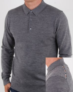 Aquascutum Kennington Long Sleeve Knitted Polo Grey Melange