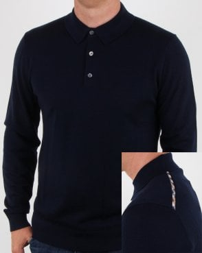 Aquascutum Kennington Long Sleeve Knitted Polo Navy