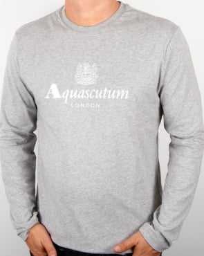 Aquascutum Long Sleeve T-shirt Grey Marl