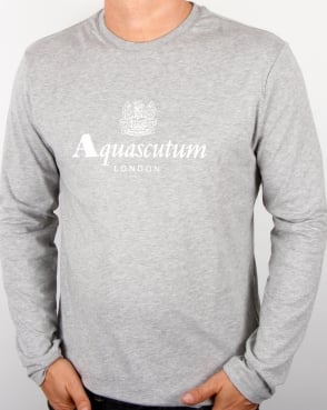 Aquascutum Long Sleeve T-shirt Grey Marl