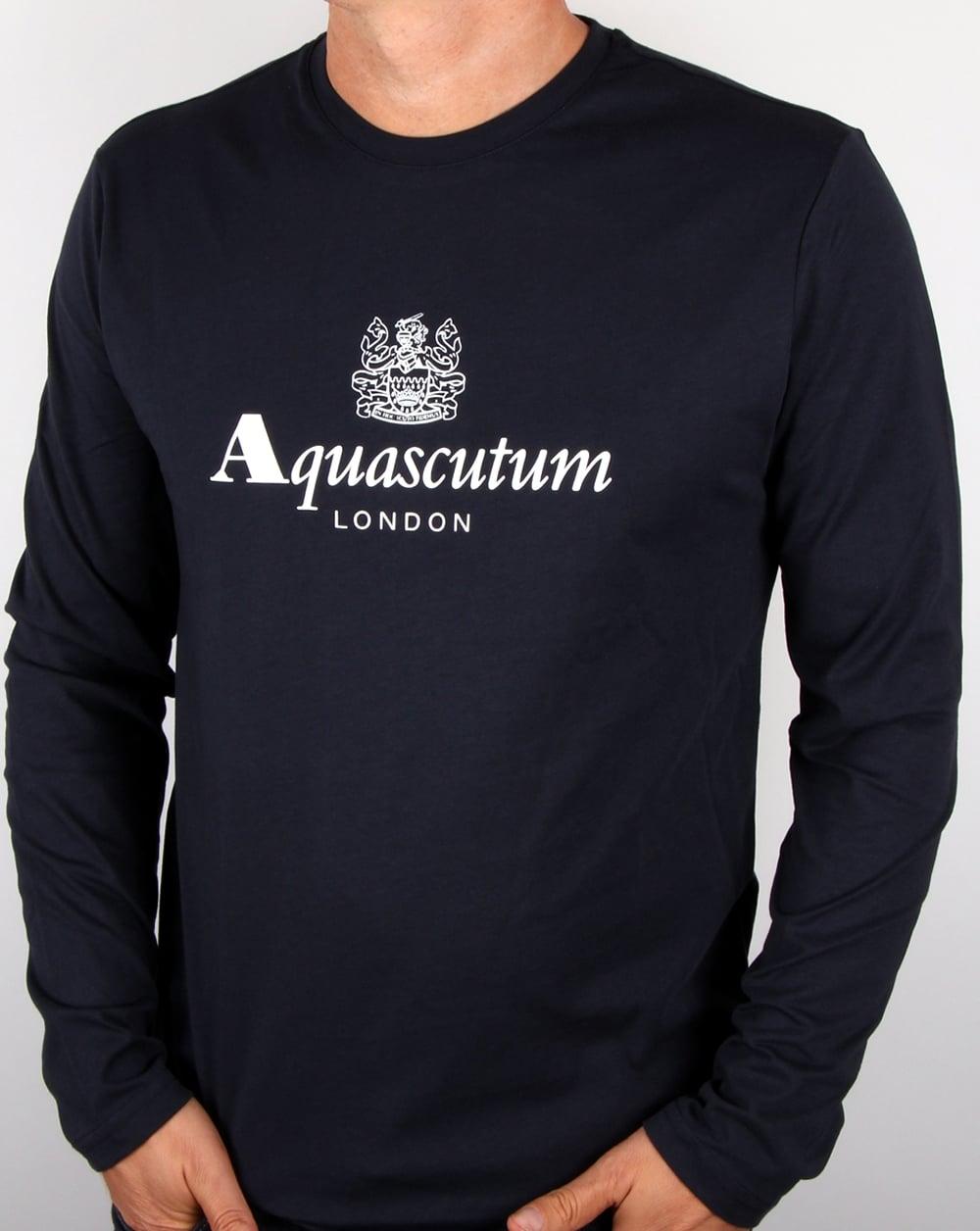 Aquascutum long sleeve t shirt navy branded tee mens for A long sleeve shirt