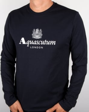 Aquascutum Long Sleeve T-shirt Navy -STOCK DUE