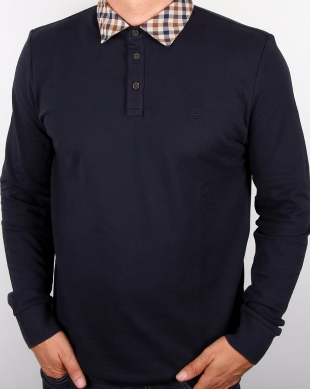 Aquascutum Nathan Check Collar Long Sleeve Polo Shirt Navy