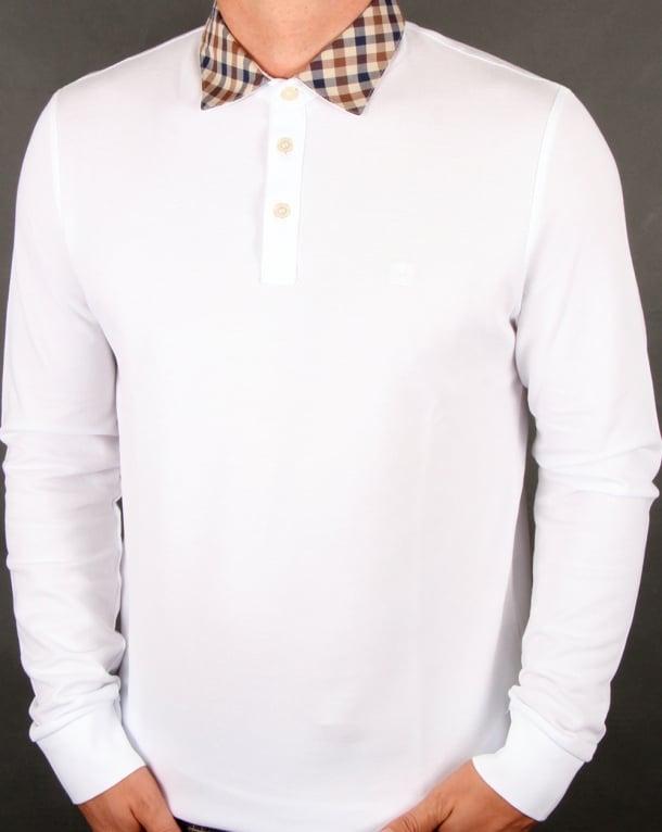 Aquascutum Nathan Check Collar Long Sleeve Polo Shirt White