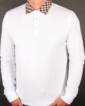 Aquascutum Nathan Check Collar Long Sleeve Polo Shirt White